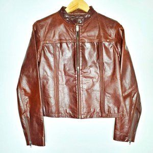 Wilsons Leather Maxima Leather Brown Moto Jacket M